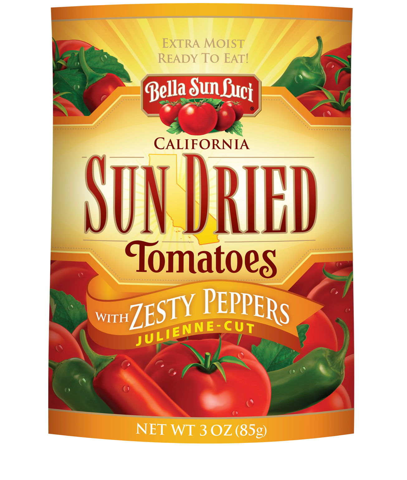 Sun Dried Tomatoes Julienne-Cut with Zesty Peppers (Resealable Pouch)