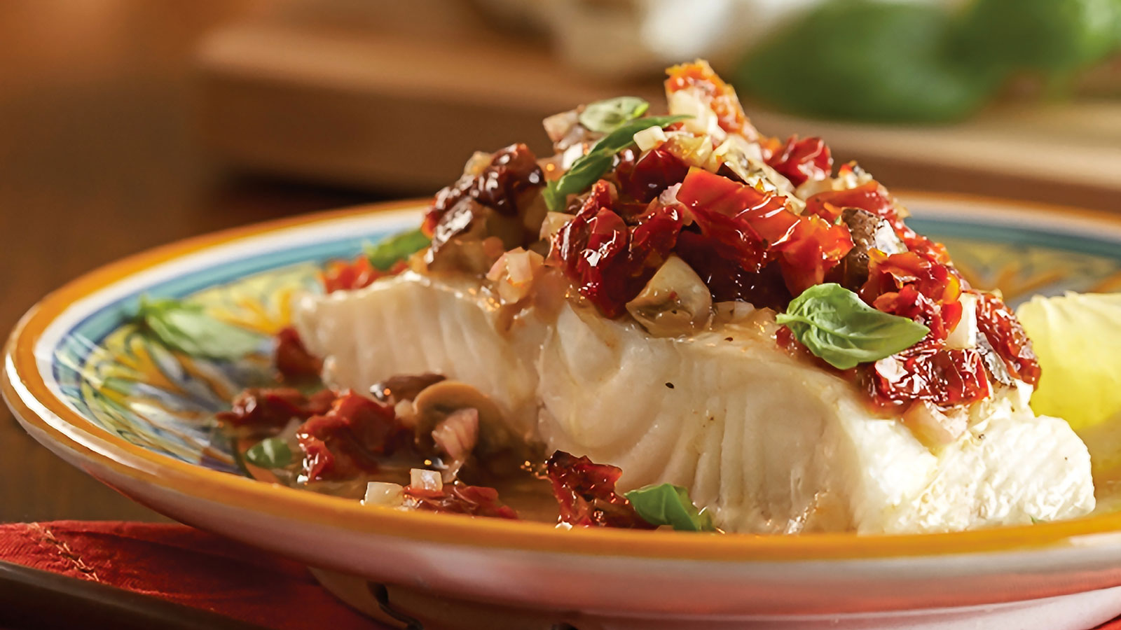 Baked Sun Dried Tomato Cod with Shallots, Mushrooms, & Fresh Basil