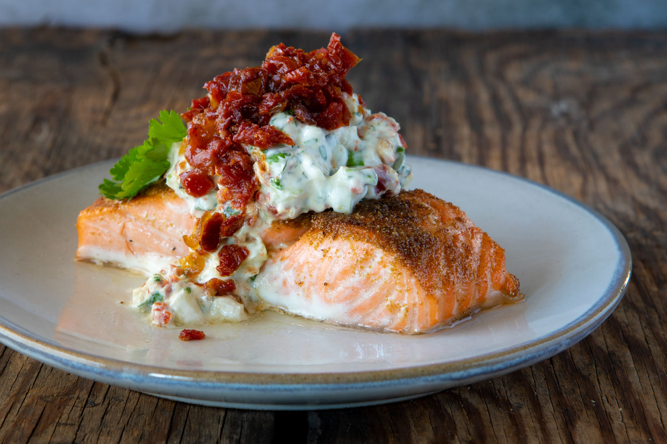 Cumin Crusted Salmon with Sun Dried Tomato Chutney and Yogurt Cream