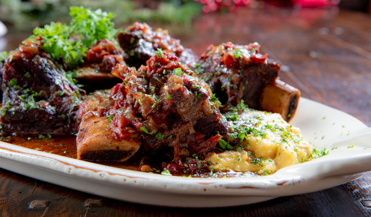 Sun Dried Tomato Short Ribs with Cheesy Polenta