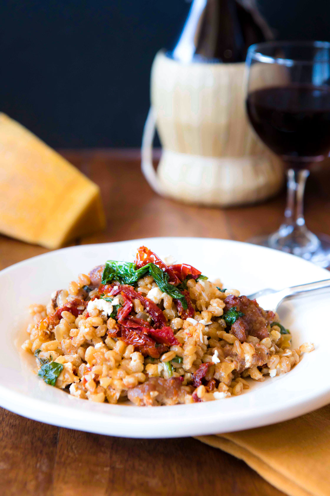 Farro with Sausage and Sun Dried Tomatoes