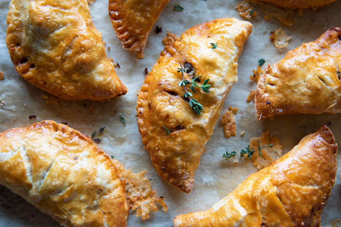 Dreamy Sun Dried Tomato Hand Pies with Chicken, Cabernet Mushrooms, Mozzarella and Zucchini