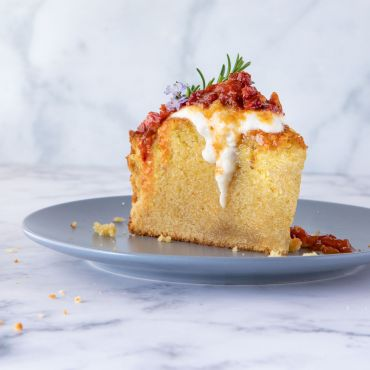 Sun Dried Tomato Olive Oil Cake with Whipped Ricotta and Tomato Jam