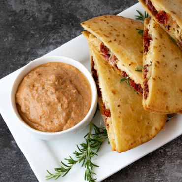 Chicken, Sun Dried Tomato & Asiago Quesadillas with Greek Yogurt Dip