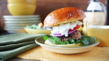 Sun Dried Tomato and Feta Lamb Burgers with Fennel-Cucumber Sauce - Winning Recipe 2012!