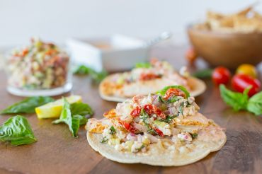 Mediterranean Chicken Tacos with Sun Dried Tomato Crema