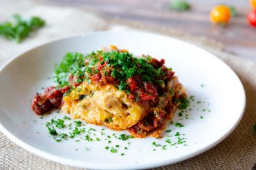 Chicken and Sun Dried Tomato Lasagna Rolls on Creamy Bacon and Pesto Bechamel – 1st Place Winner 2015 Recipe Contest