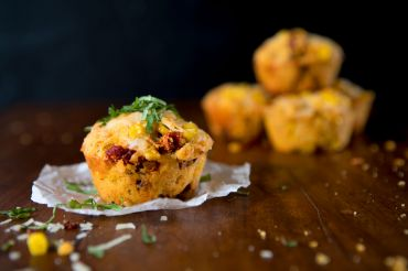 Sun Dried Tomato-Basil-Rosemary-Provolone-Whole Corn Kernel Cornbread Muffins