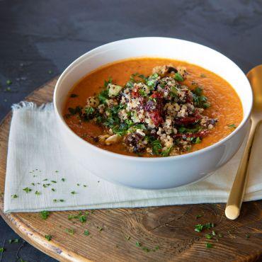 Mediterranean Quinoa Topped Tomato & Artichoke Soup