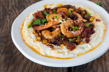 Sun Dried Tomato Smoky Chipotle Shrimp and Cotija Grits