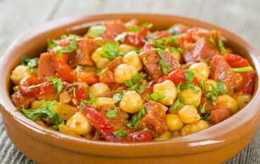 Garbanzo Beans with Sausage, Sun Dried Tomatoes and Parsley