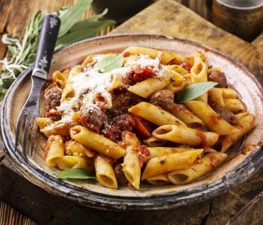 Penne with Tuscan Sausage and Sun Dried Tomatoes