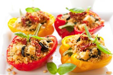 Quinoa Stuffed Peppers Mediterranean Style