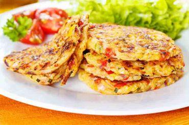 Saffron-Sun Dried Tomato-Zucchini-Bell Pepper Pancakes
