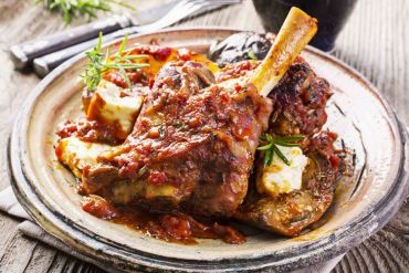 Tuscan Braised Lamb Shank with Sun Dried Tomato Bruschetta
