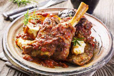 Tuscan Braised Lamb Shank with Sun Dried Tomato Bruschetta