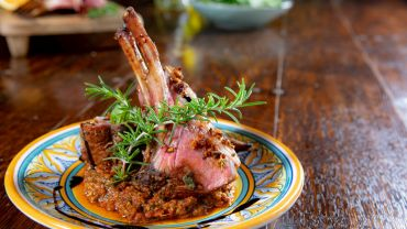 Pistachio and Sun Dried Tomato Crusted Rack of Lamb with Sunny Pistou