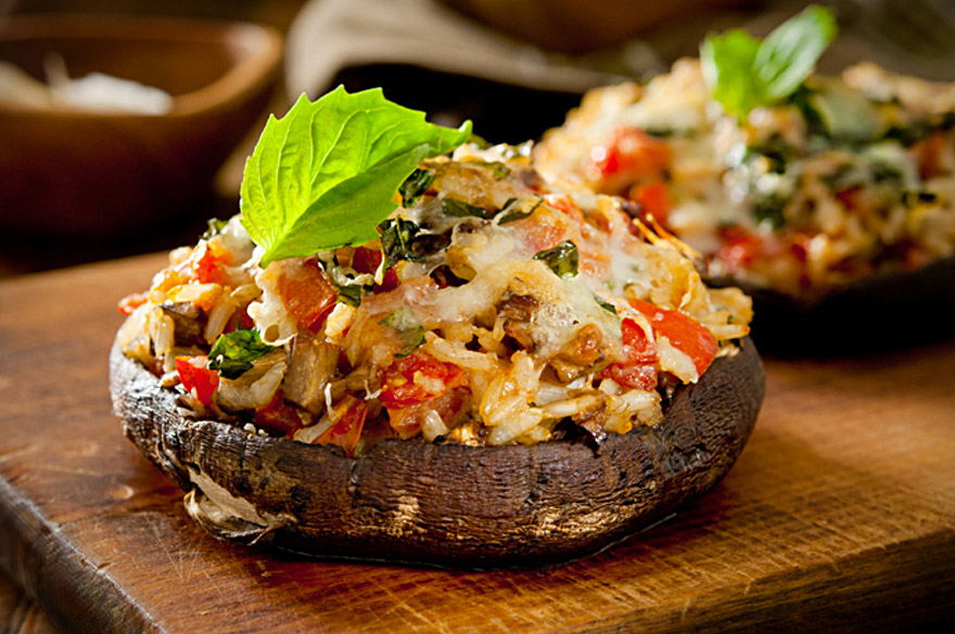 Portobello Mushroom Cap Baked with Sun Dried Tomato Risotto