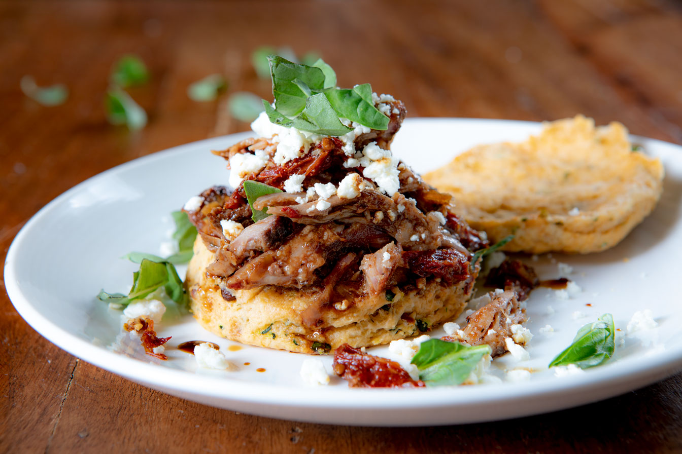 Mediterranean Pulled Pork Tenderloin Sandwiches on Bella Bruschetta Biscuits